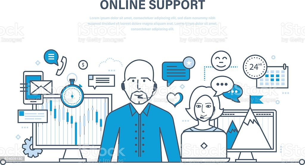Concept of illustration - hour technical support, consultation and communication. vector art illustration