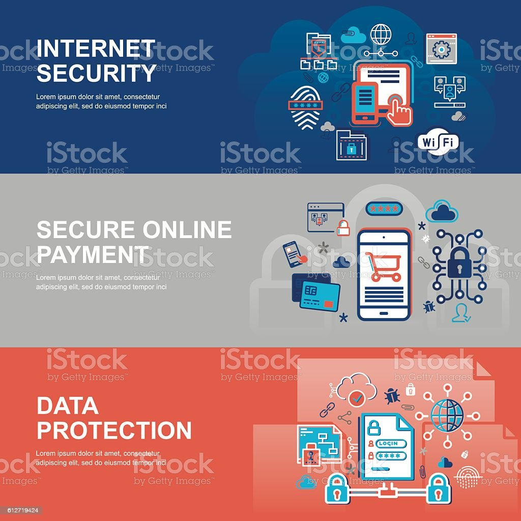 Concept of internet security, network protection vector art illustration