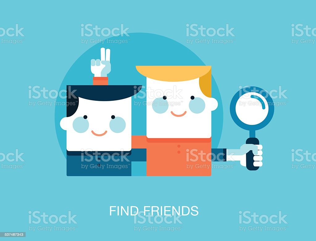 concept of looking for friends on the internet vector art illustration