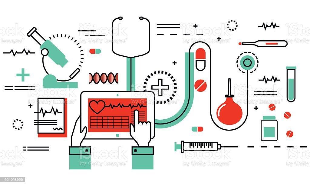 Concept of medicine and healthcare, health control vector art illustration