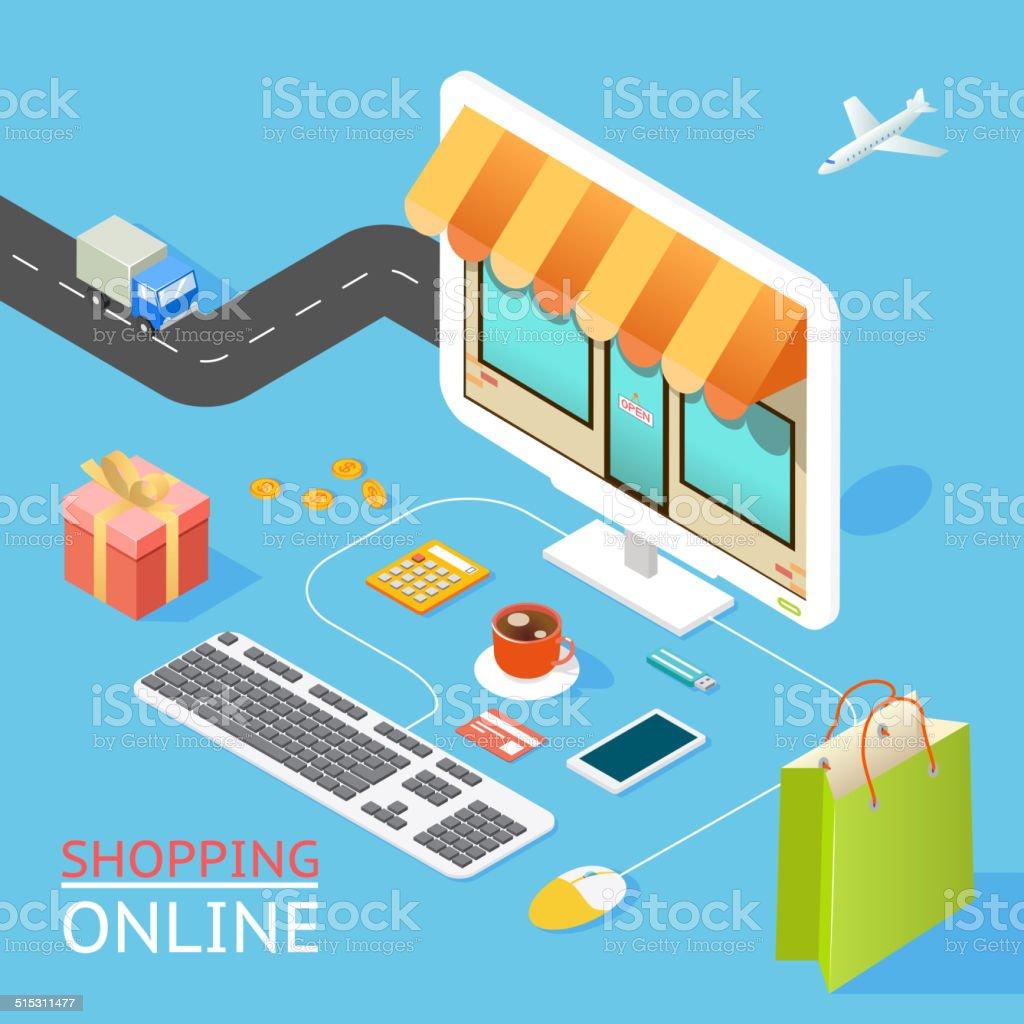 Concept of online shop vector art illustration