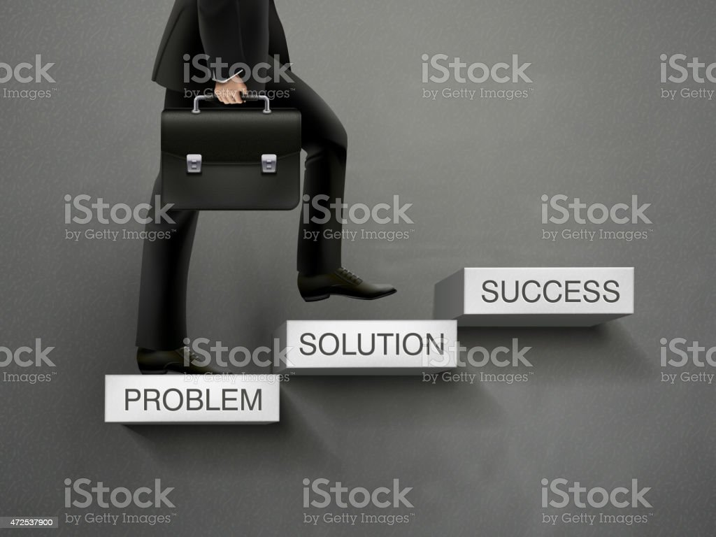 concept of problem solving process with businessman vector art illustration