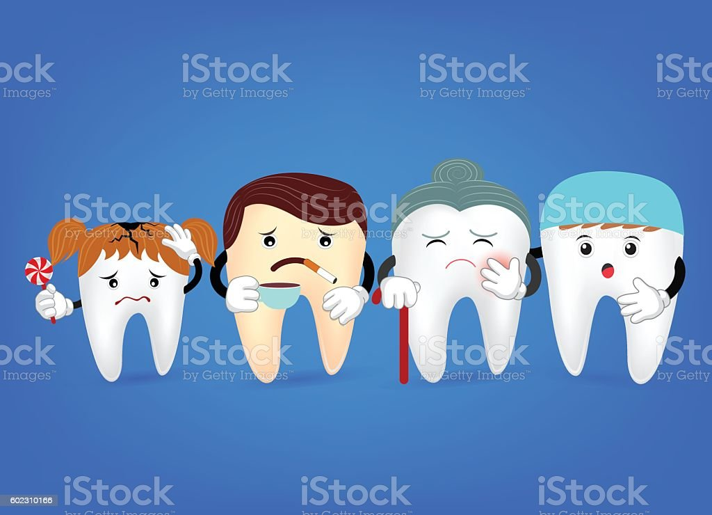 Concept of problematic teeth with dentist . Funny  illustration vector art illustration