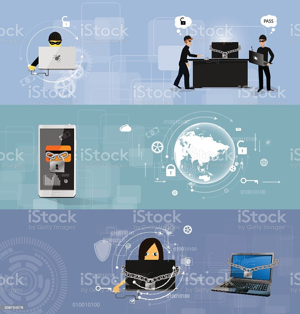 concept of protection against hacking vector art illustration