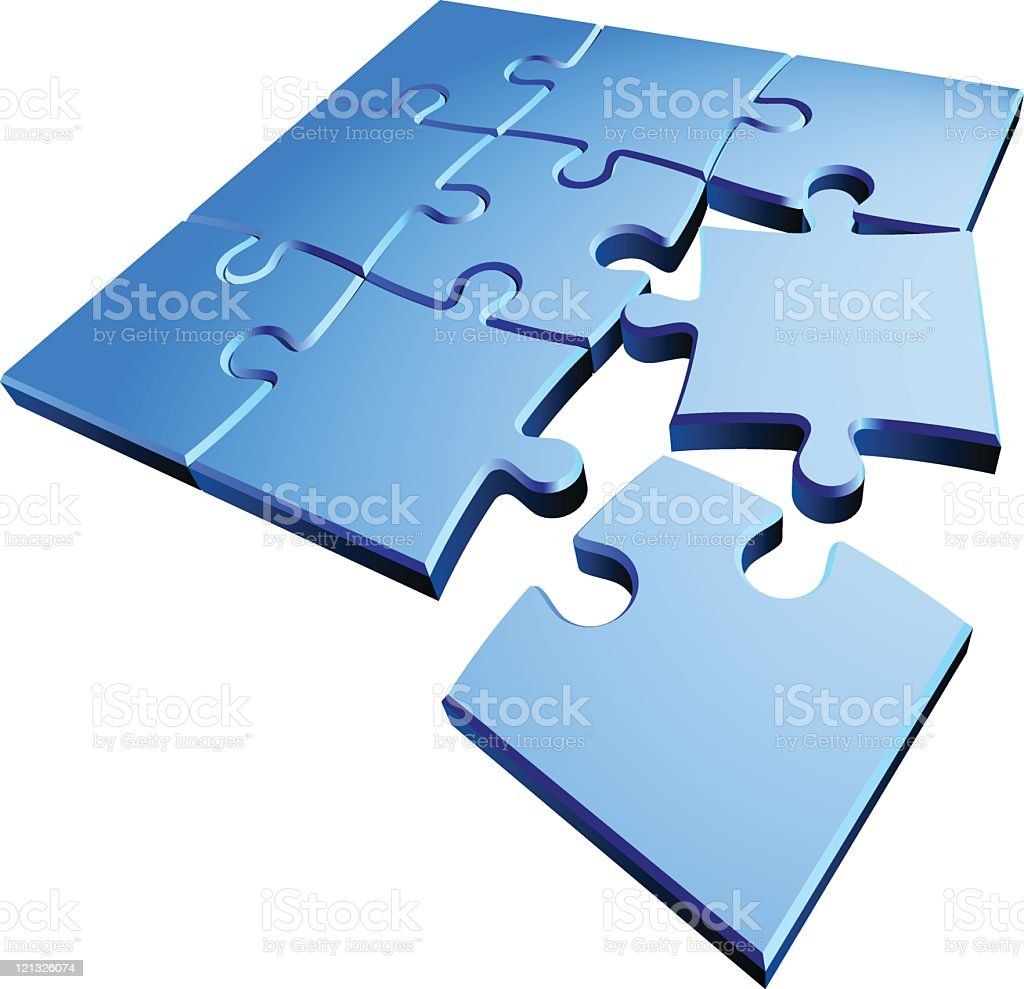 A concept of puzzle parts isolated on white royalty-free stock vector art