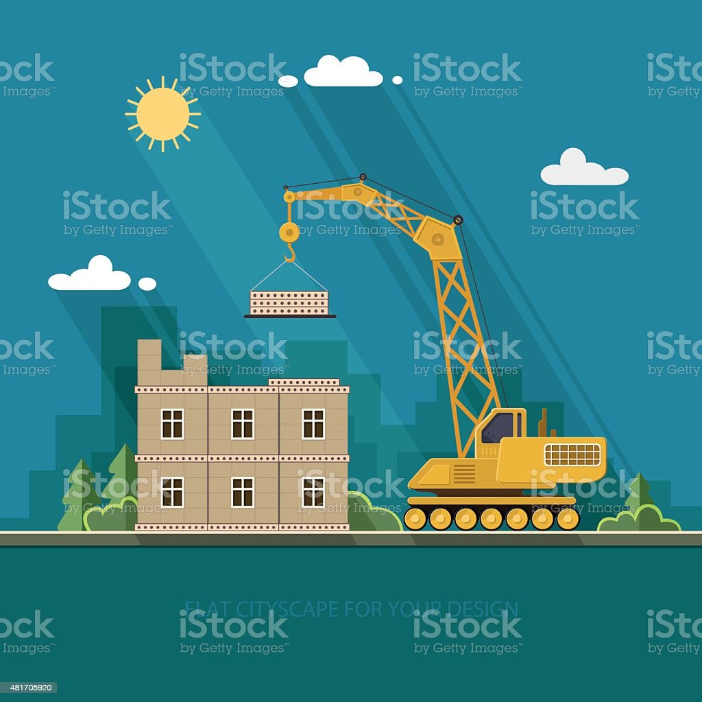 concept of residential house construction process with crane. Flat style vector art illustration