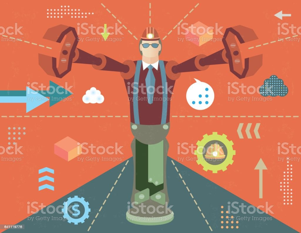 Concept of robot worker vector art illustration