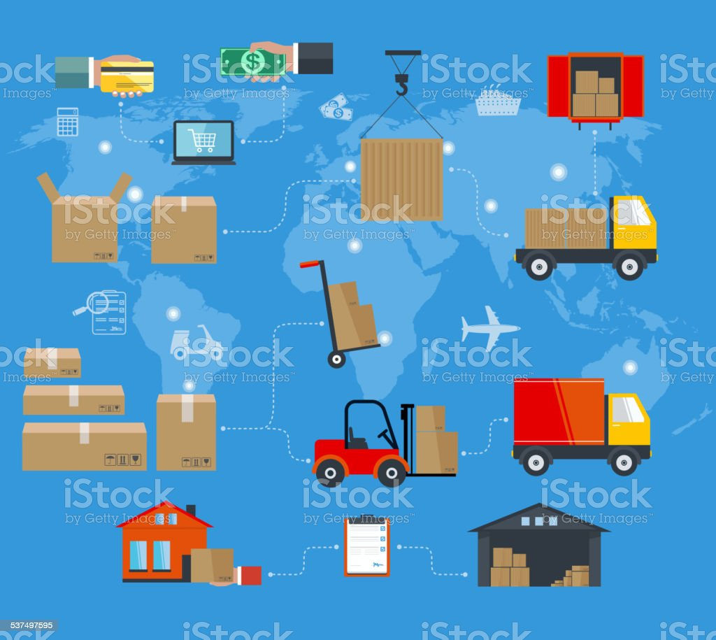 Concept of services in delivery goods. World concept of delivery vector art illustration