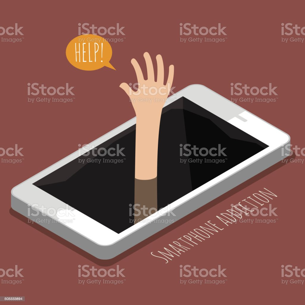 Concept of smartphone addiction vector art illustration