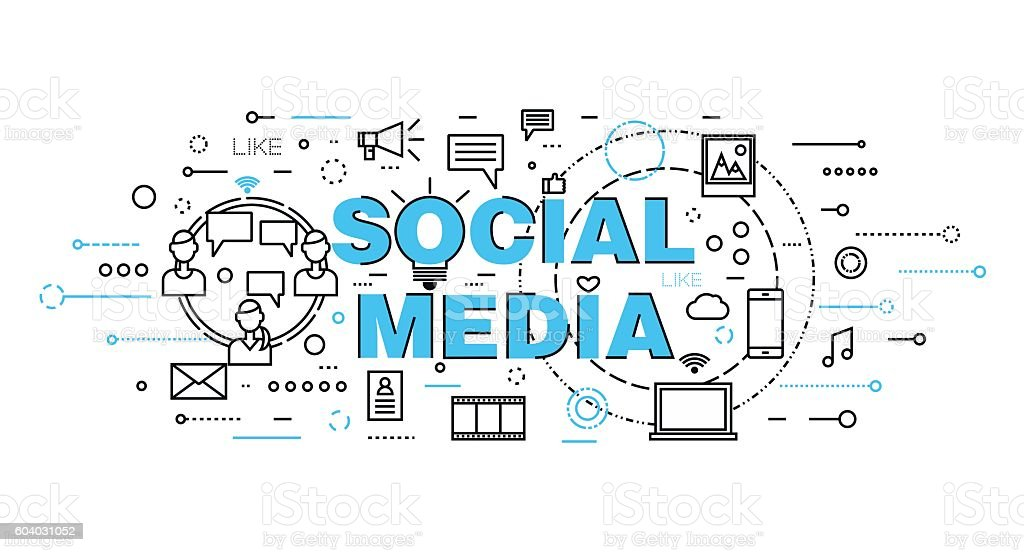 Concept of social media, social networking and web communtity vector art illustration