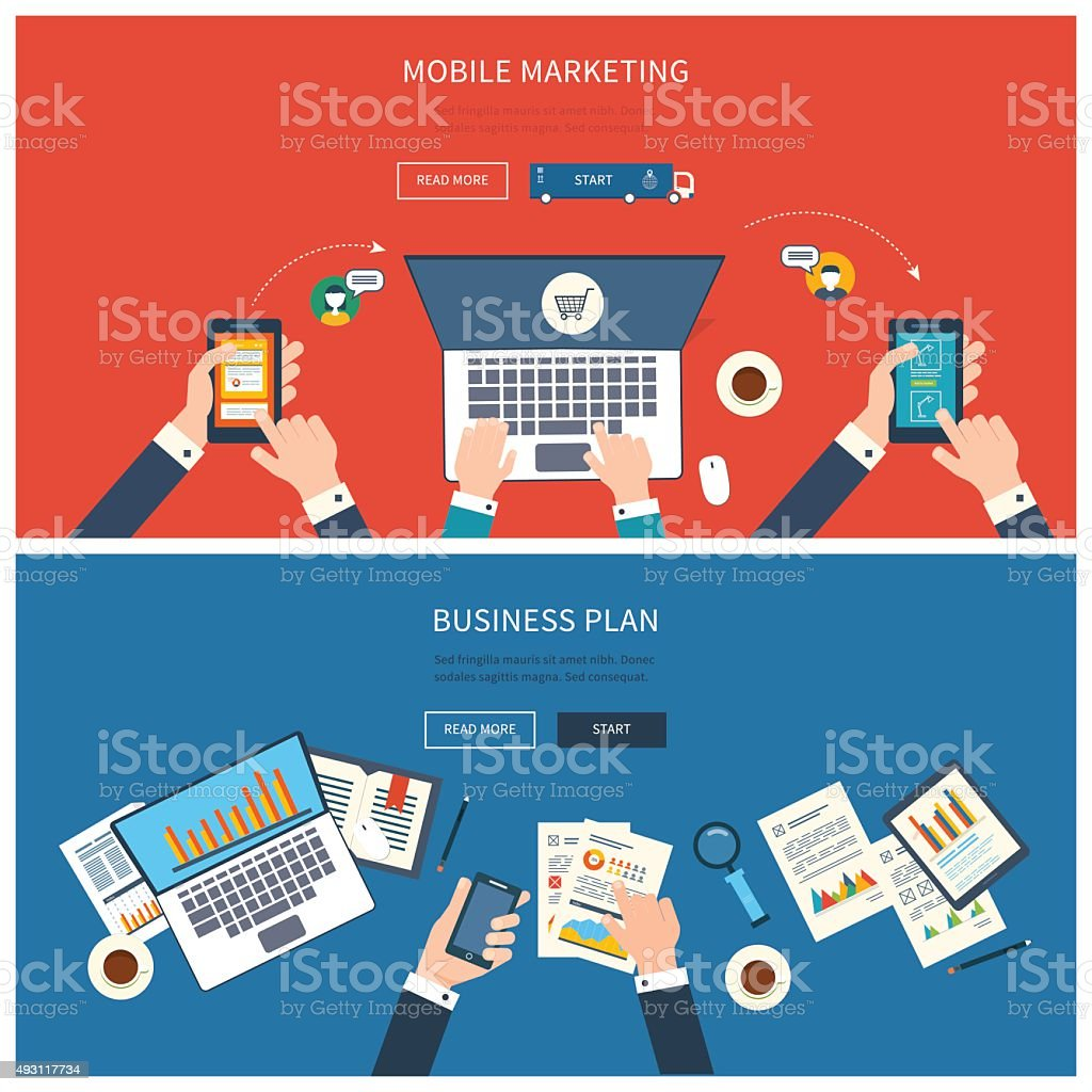 Concept of teamwork analyzing project on business meeting, mobile marketing vector art illustration