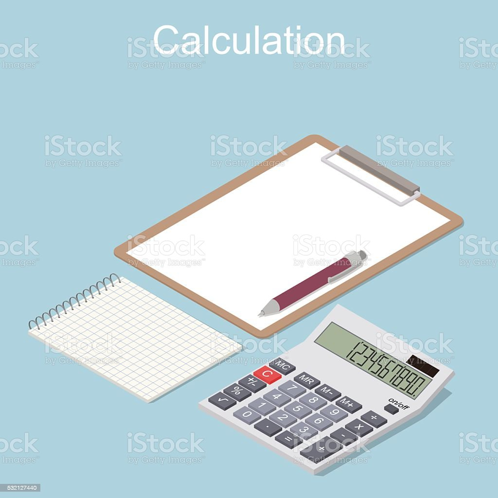 Concept of the calculation of income and expenses. vector art illustration