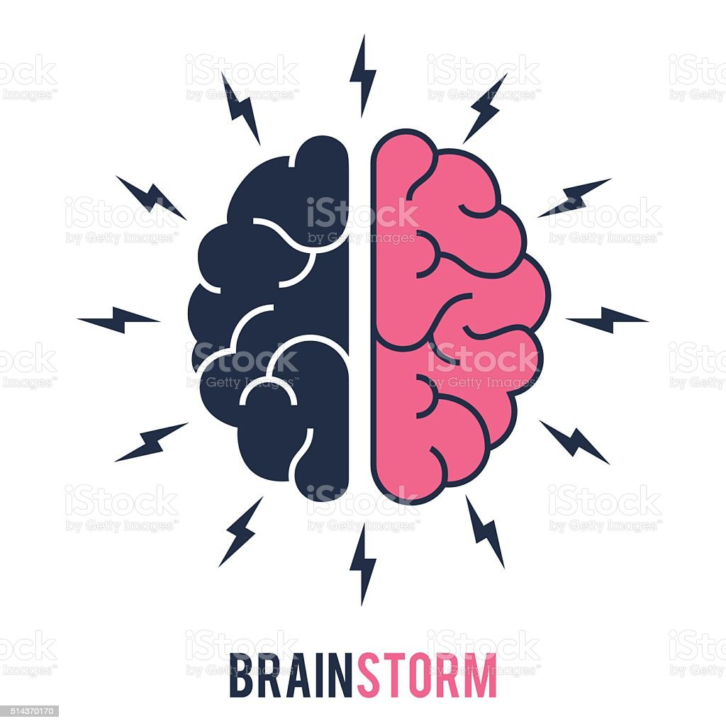 Concept of the thinking process, brainstorming, good idea vector art illustration