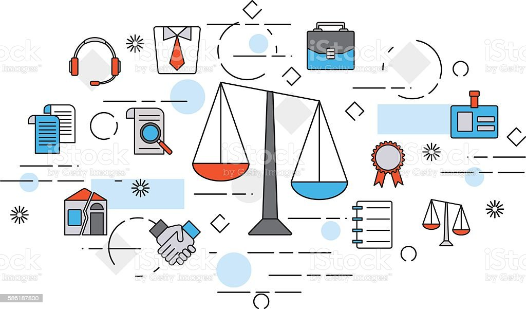 Concept of title site page or banner for legal advice. vector art illustration