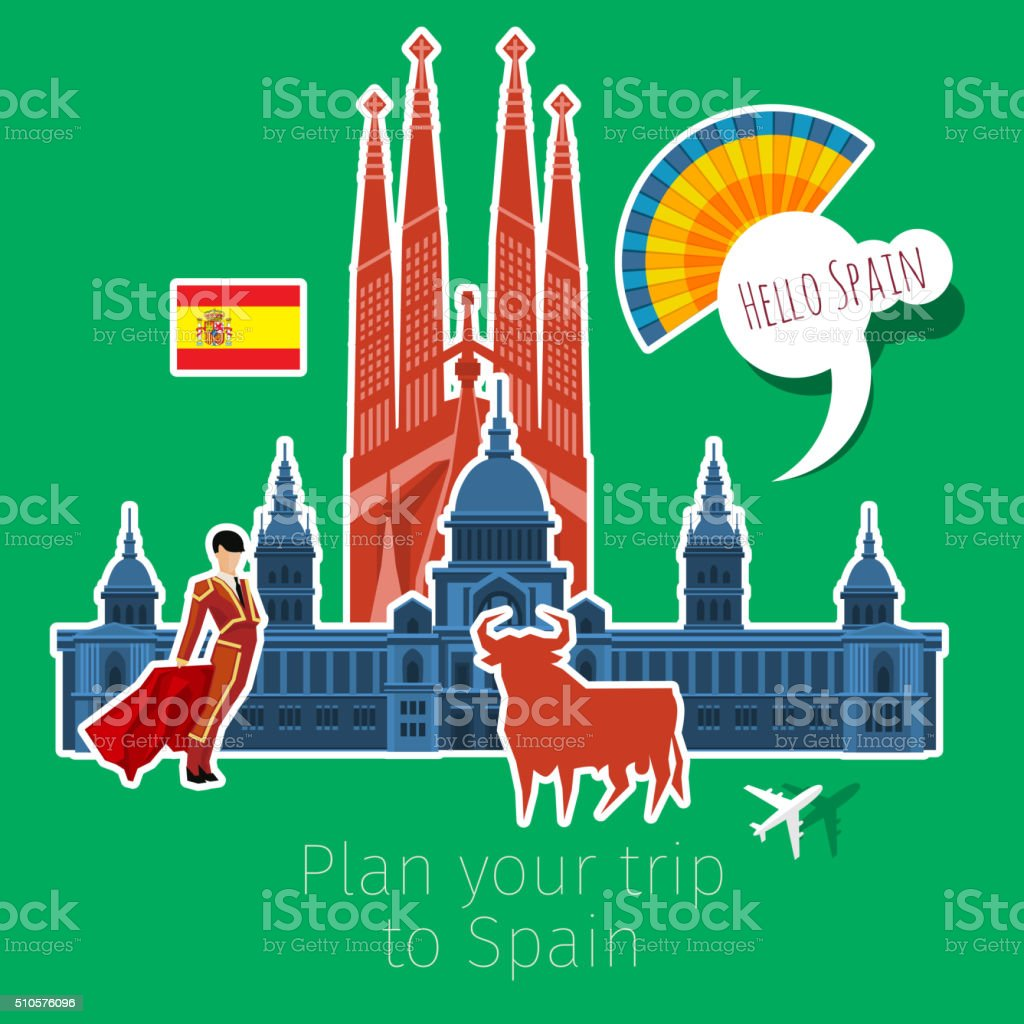 Concept of travel or studying Spanish vector art illustration