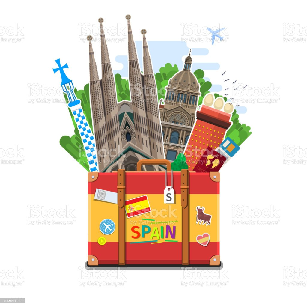 Concept of travel or studying Spanish. vector art illustration