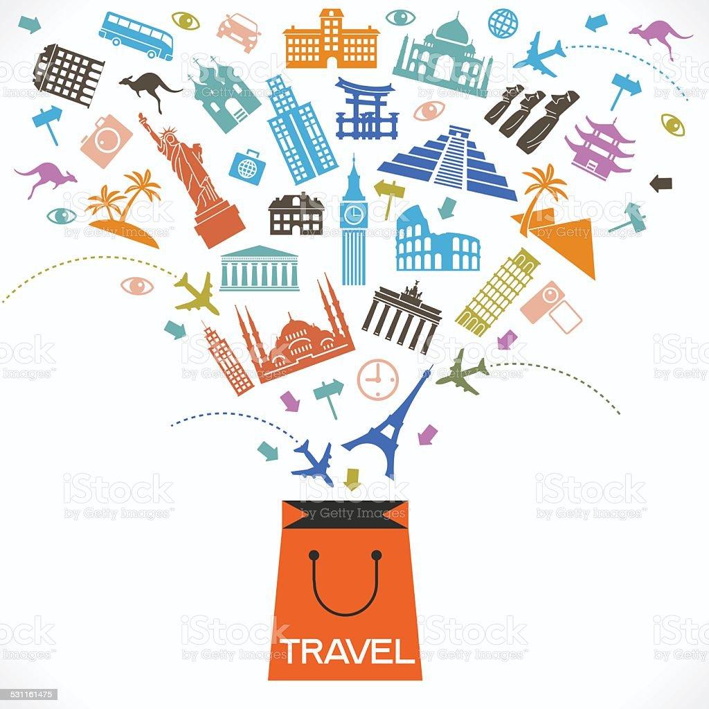 Concept of travel shop vector art illustration