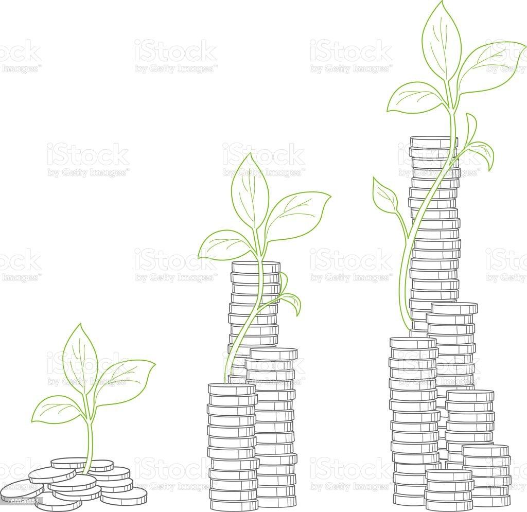 Conceito de árvore crescendo de dinheiro vetor e ilustração royalty-free royalty-free