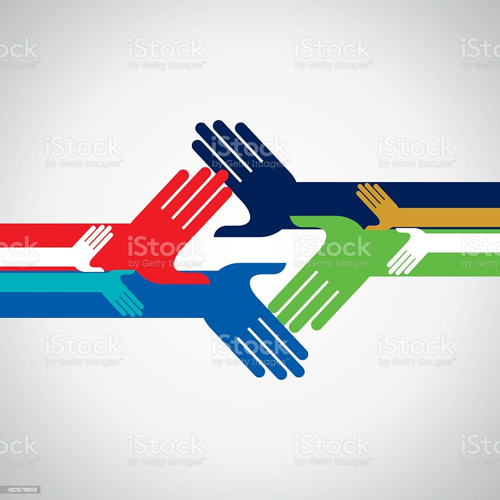 concept of unity and helping hands vector art illustration
