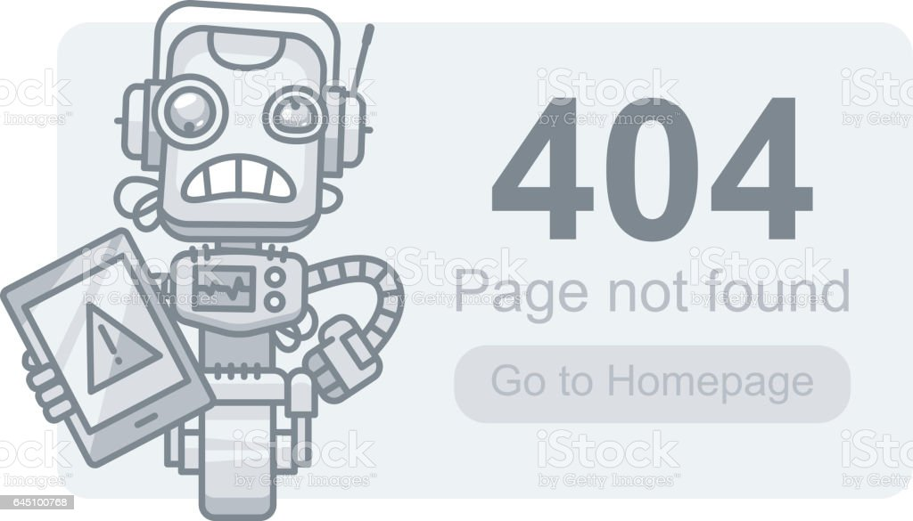 Concept Page Not Found Robot with Tablet vector art illustration