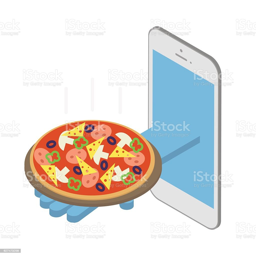 Concept, pizza delivery under the order. Vector isometric vector art illustration