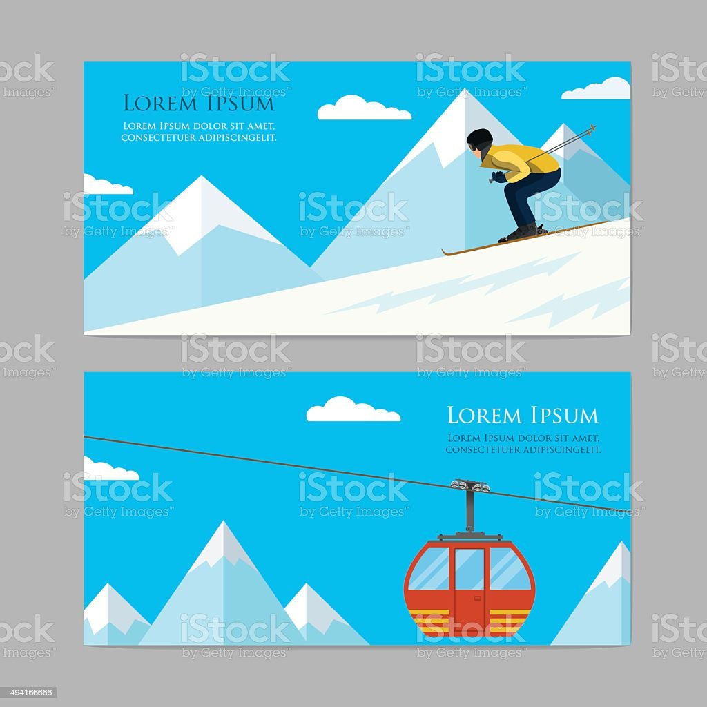 Concept skiing winter sport flat style. vector art illustration