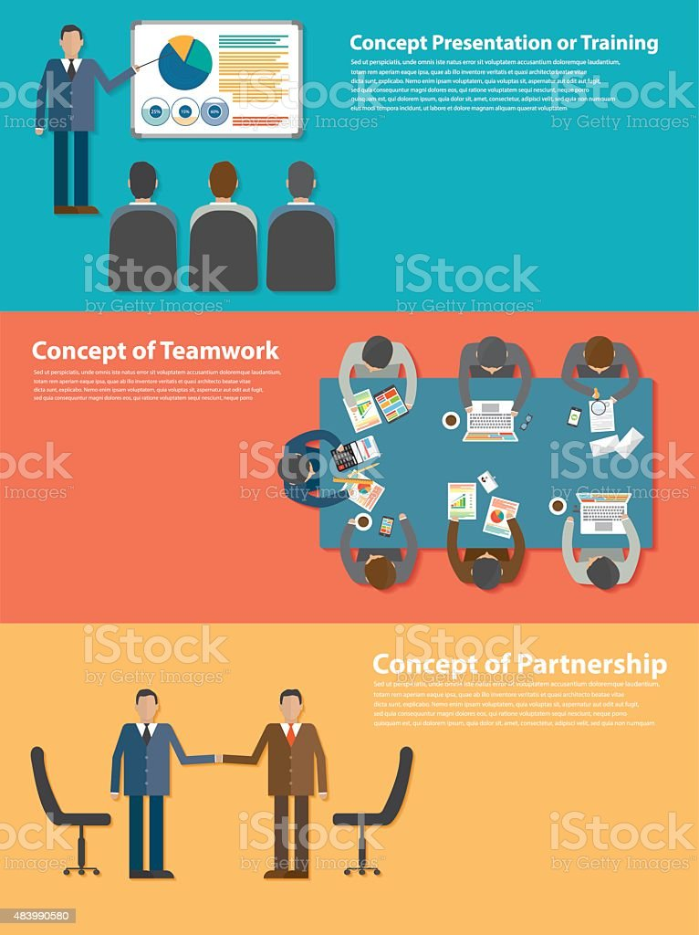 Concept, training, meeting, teamwork, partnership vector art illustration
