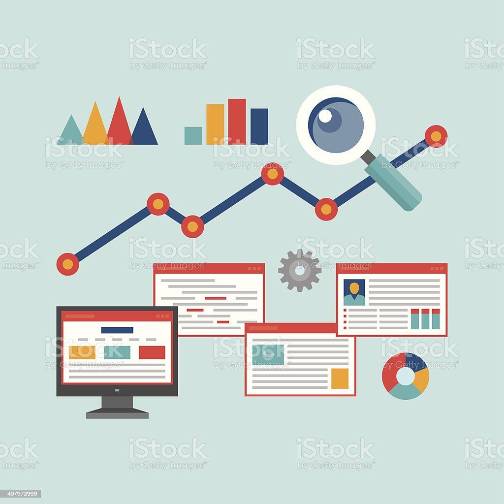 Concept Vector Illustration in Flat Design Style of Web Analytics vector art illustration