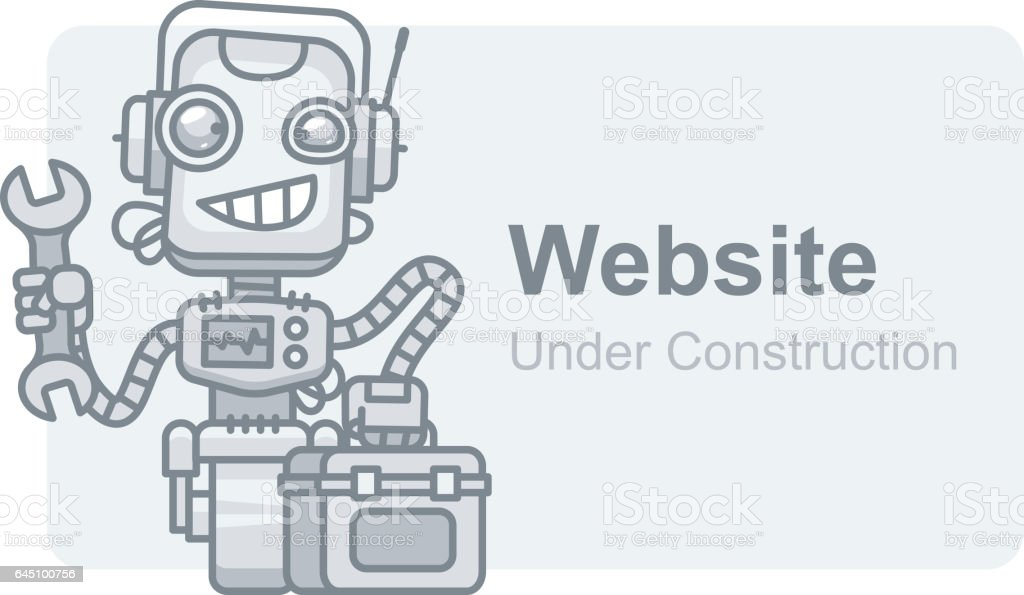 Concept Website Under Construction Robot Holding Wrench vector art illustration