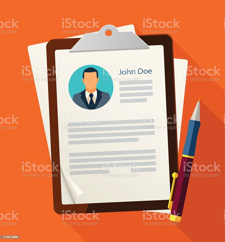 Concept with business cv resume vector art illustration