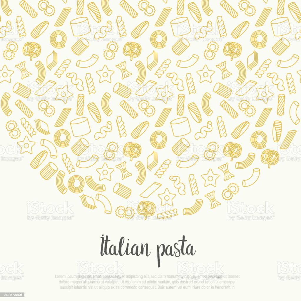 Concept with different types of Italian pasta for menu background of restaurant or cafe. Thin line vector illustration. vector art illustration