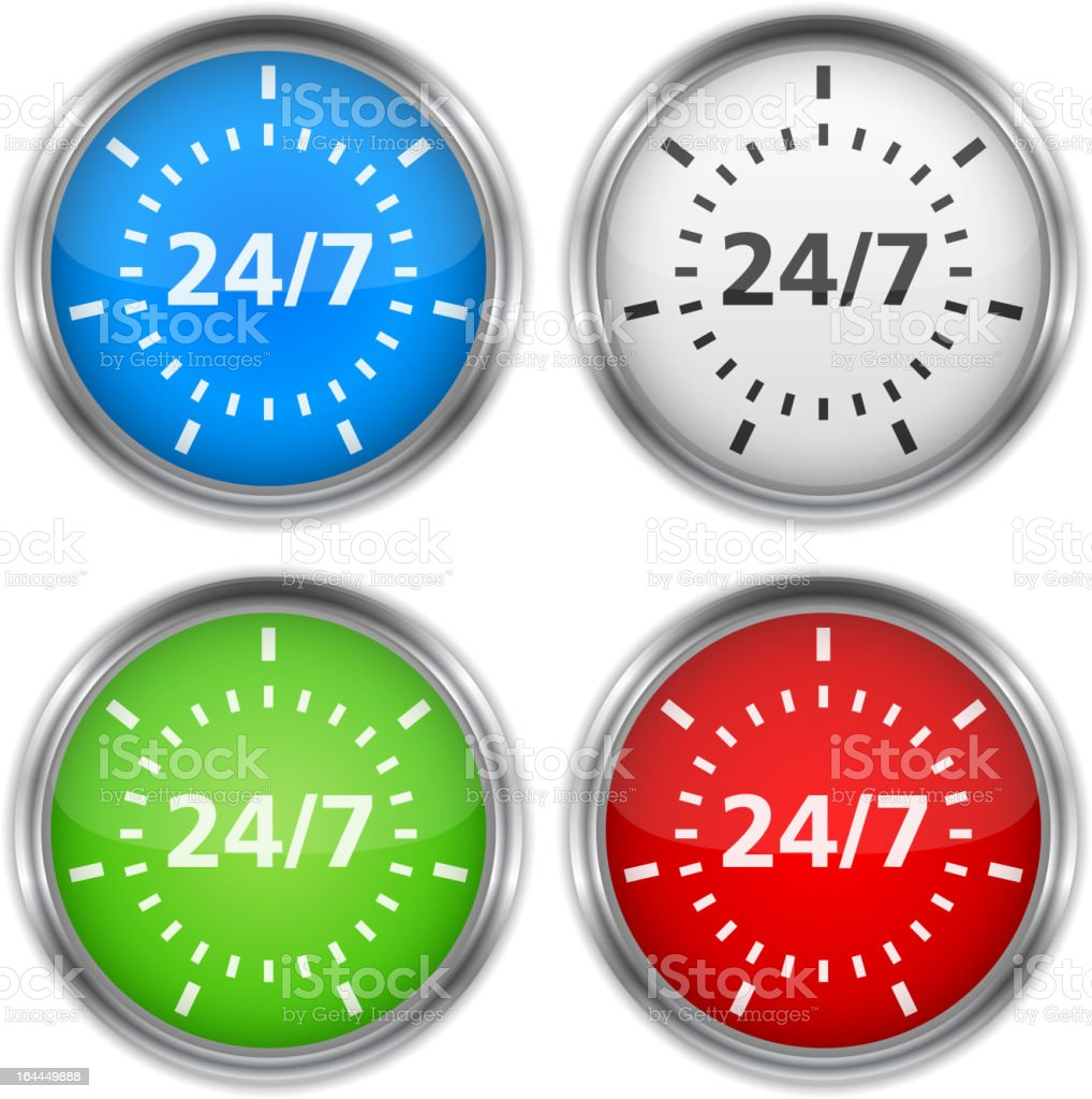 24/7 Concept with four speed dials in four different colors royalty-free stock vector art