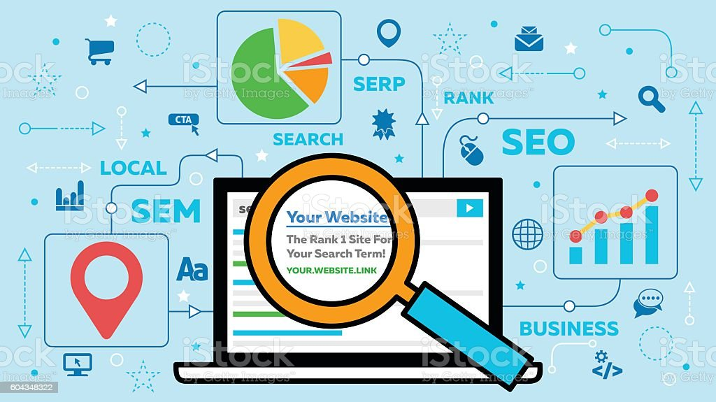 SEO Concept with Laptop and Icons vector art illustration