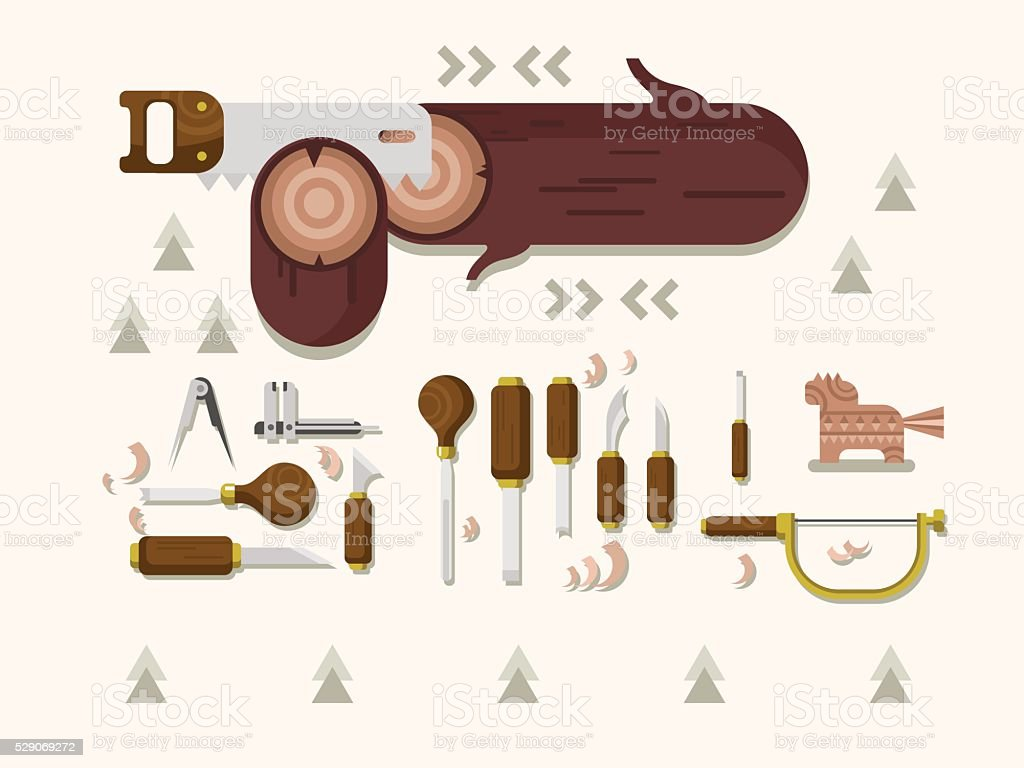 Concept woodcarving tools vector art illustration