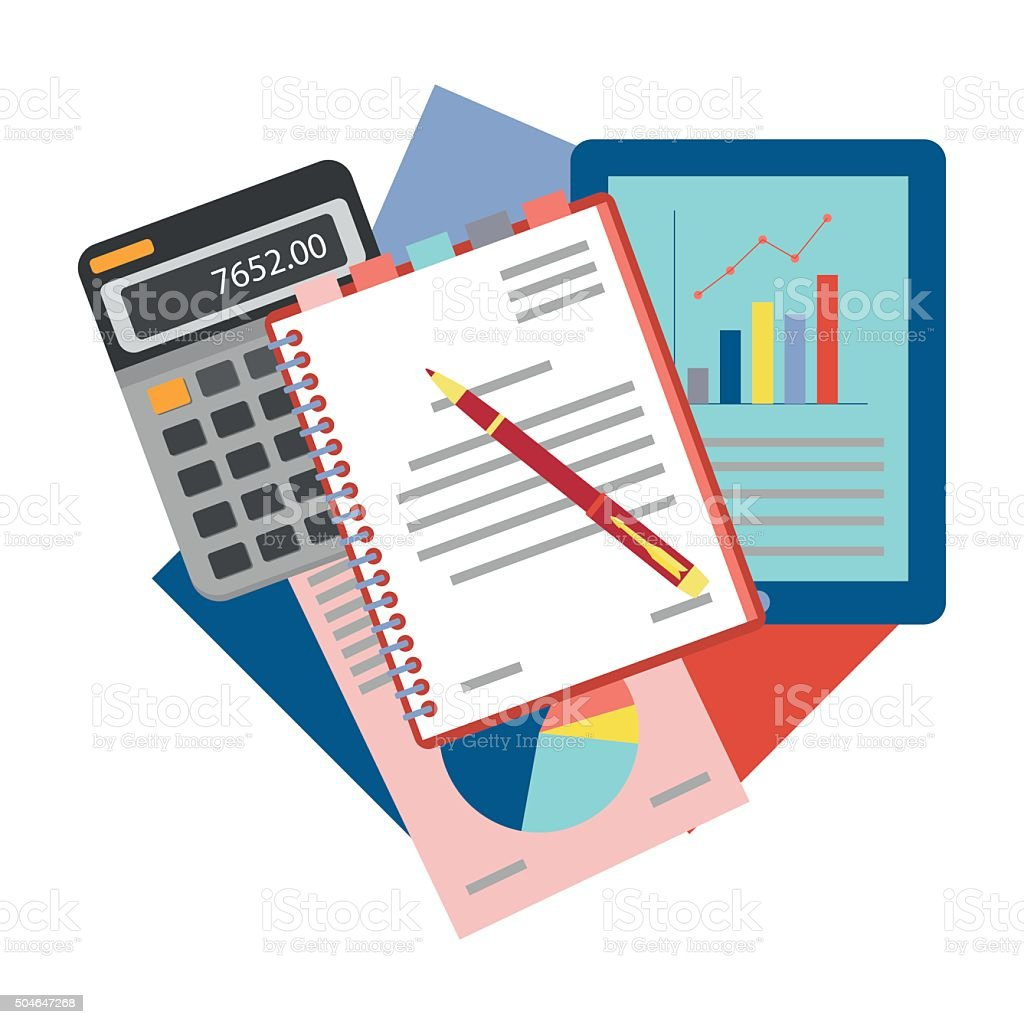 Concepts for business analysis, consulting,  and financial audit. vector art illustration
