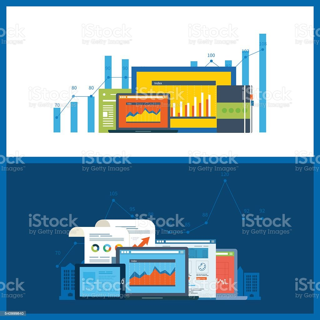 Concepts for business analysis, financial statement, consulting, teamwork, project management vector art illustration