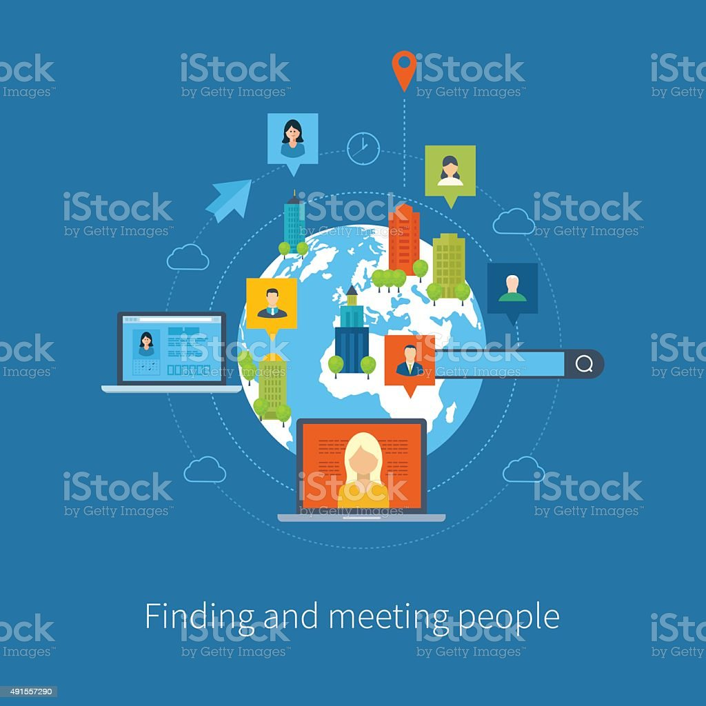 Concepts for finding and meeting people. Urban landscape vector art illustration