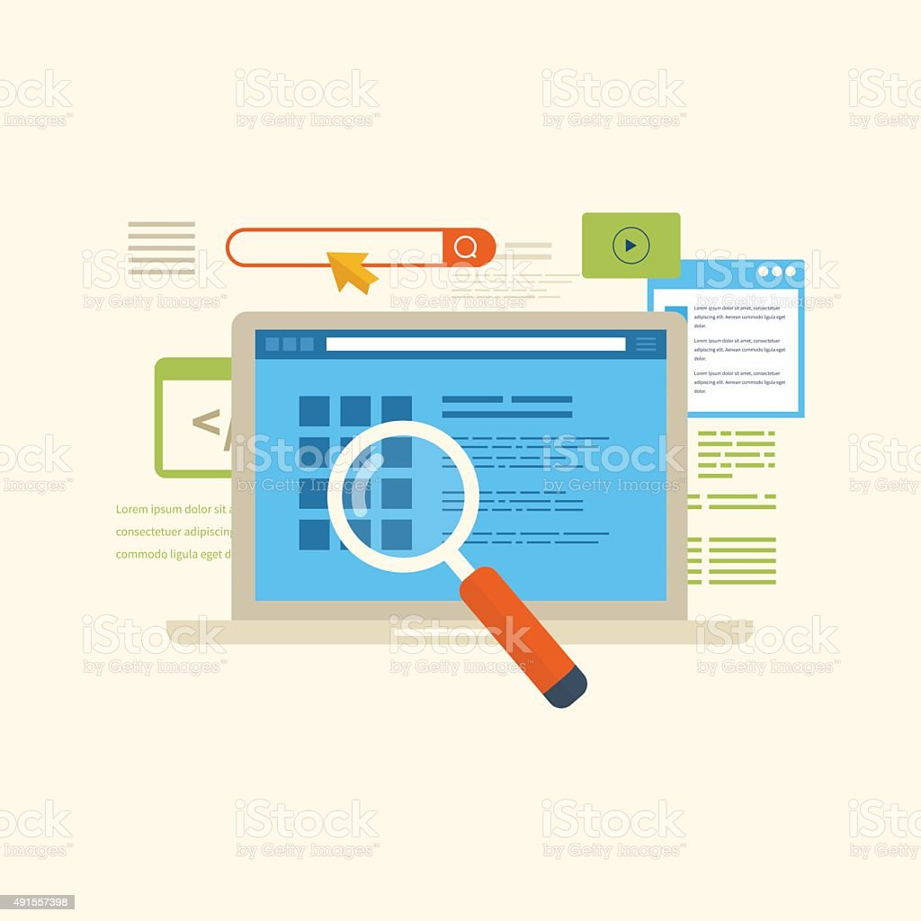 Concepts for search engine optimization and web analytics elements vector art illustration