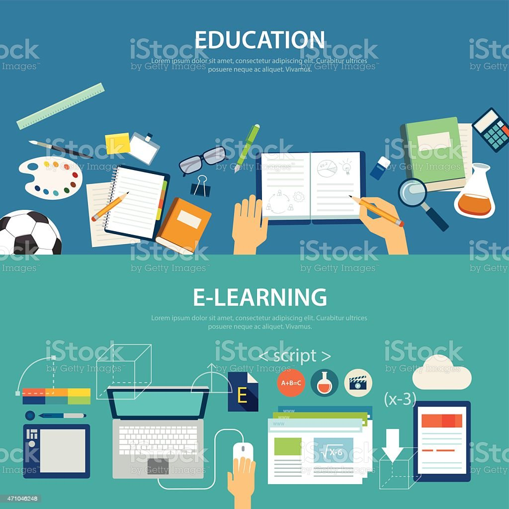 concepts of education and e-learning flat design vector art illustration