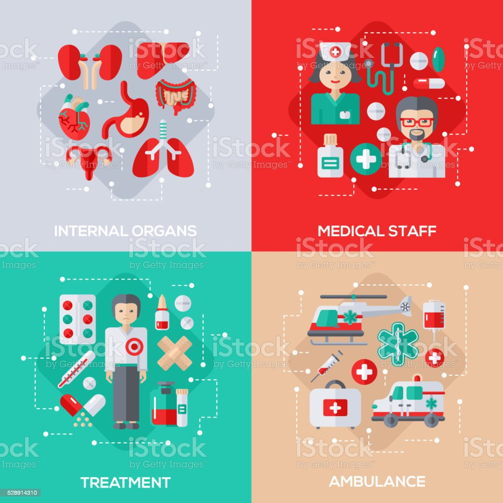 Concepts of Healthcare and Medicine vector art illustration