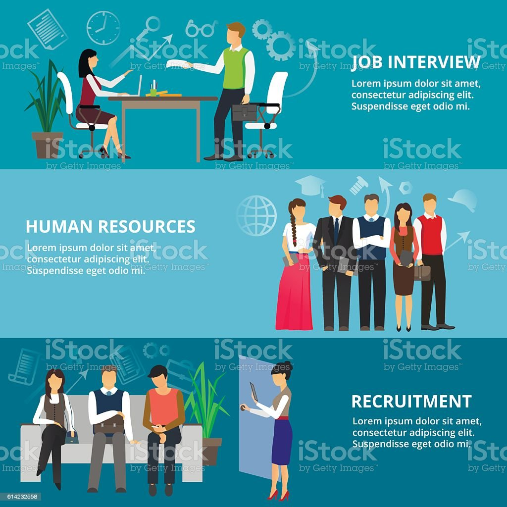Concepts of job interview, human resources and recruitment vector art illustration