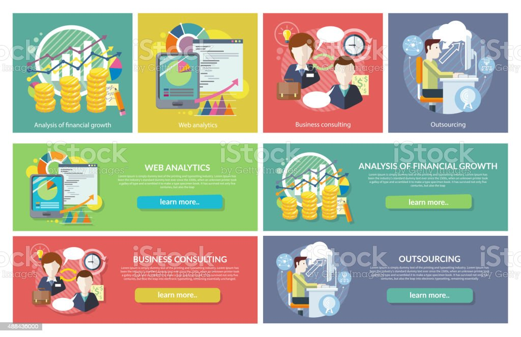 Concepts Web Analytics Consulting Outsourcing vector art illustration