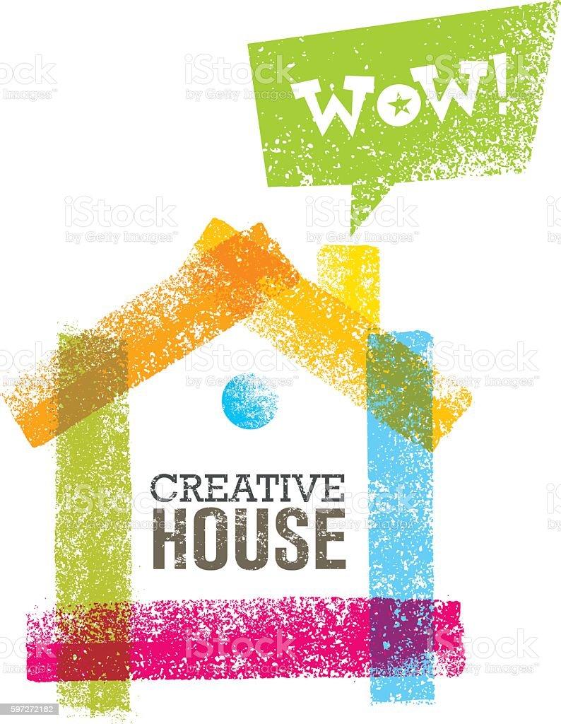 Conceptual Grunge Brush Creative House Vector Art Illustration Сток Вектор Стоковая фотография