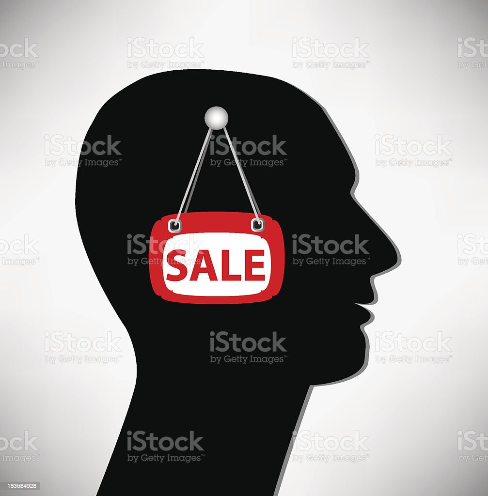 Conceptual Illustration of a man. Brains for sale. royalty-free stock vector art