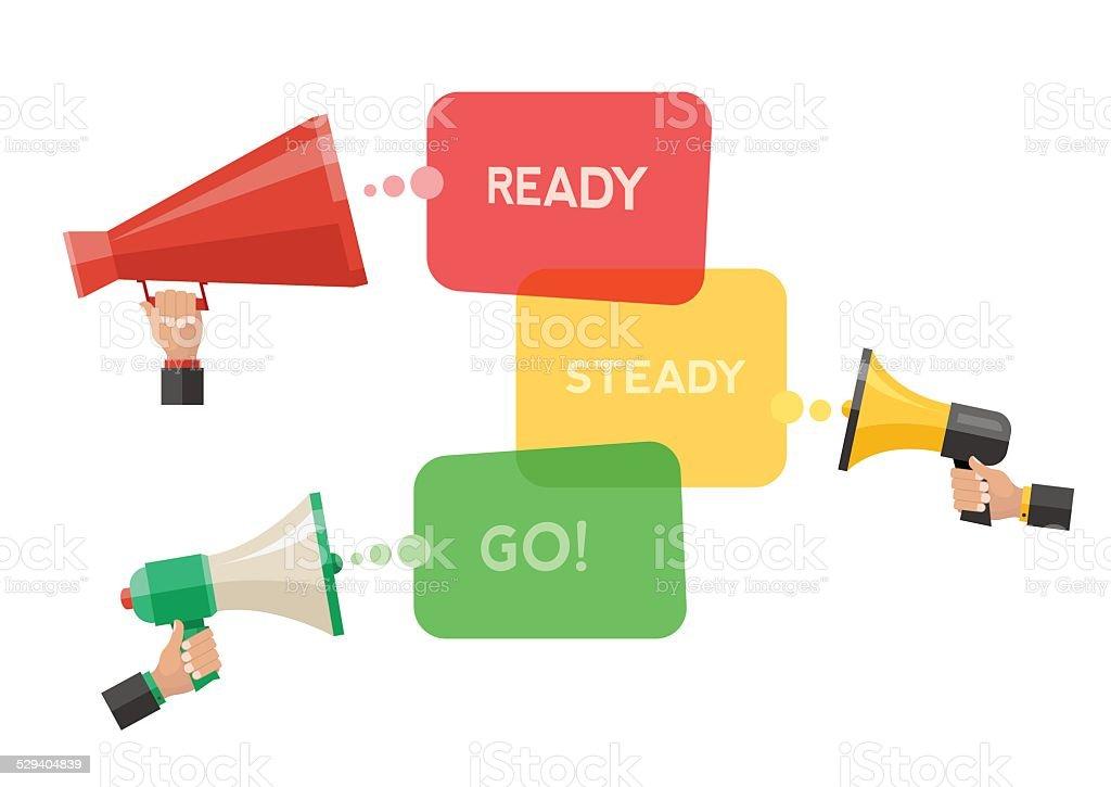 Conceptual illustration of ready, steady, go. vector art illustration