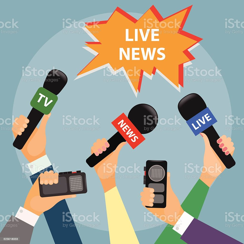 conceptual illustration on the theme of breaking news vector art illustration