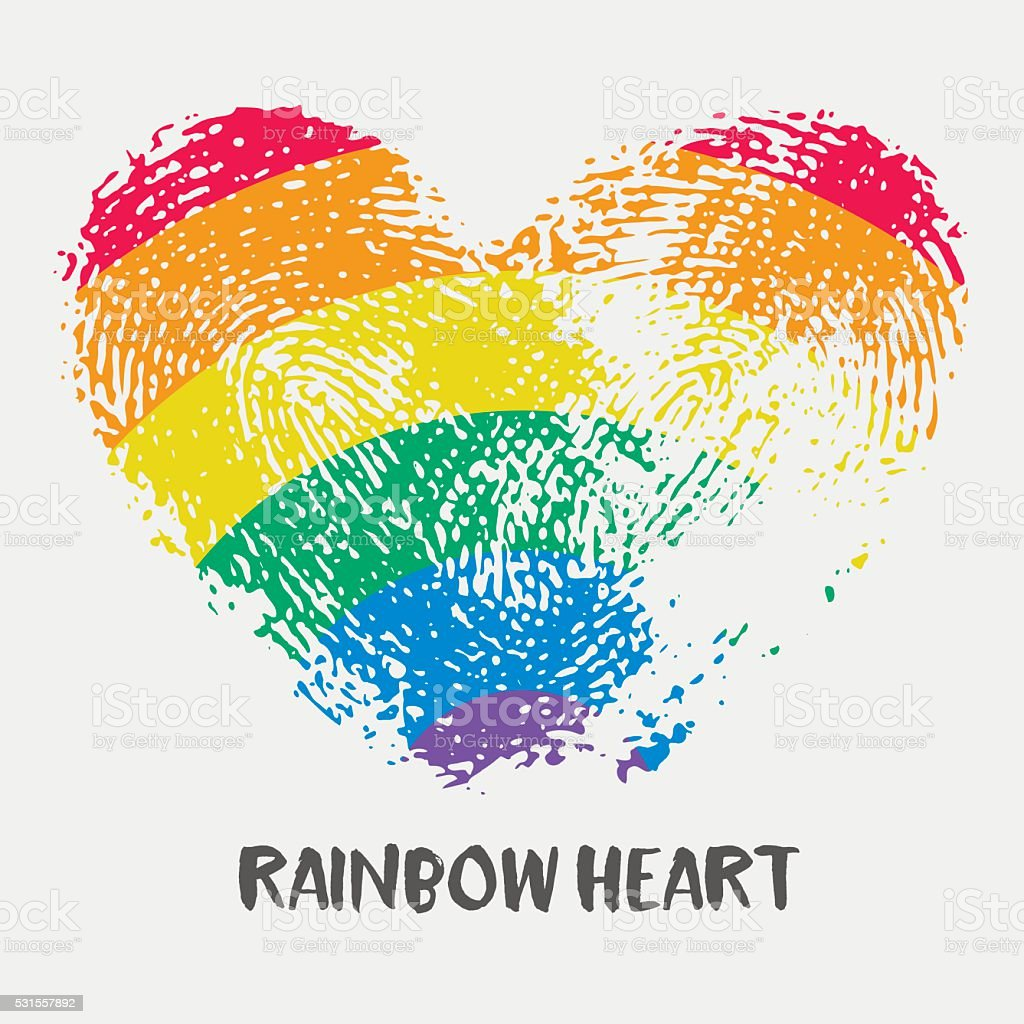 Conceptual logo with fingerprint rainbow heart. vector art illustration