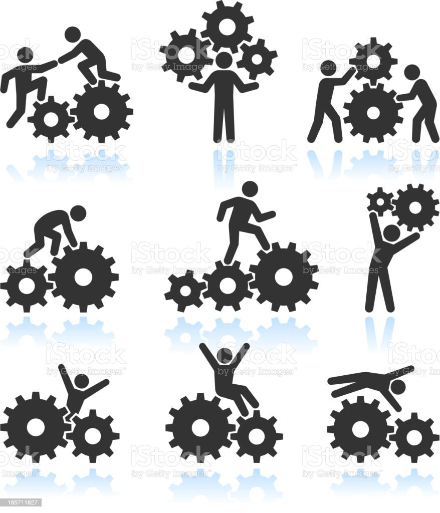 Conceptual Men and Gears Black & White vector icon set vector art illustration