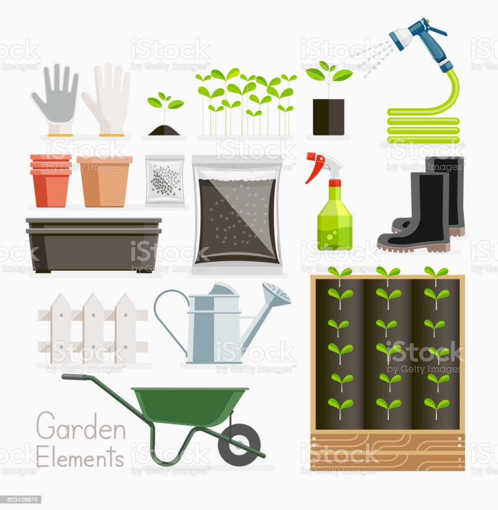 Conceptual of gardening. Garden tools equipment. vector art illustration