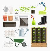 Conceptual of gardening. Garden tools equipment.